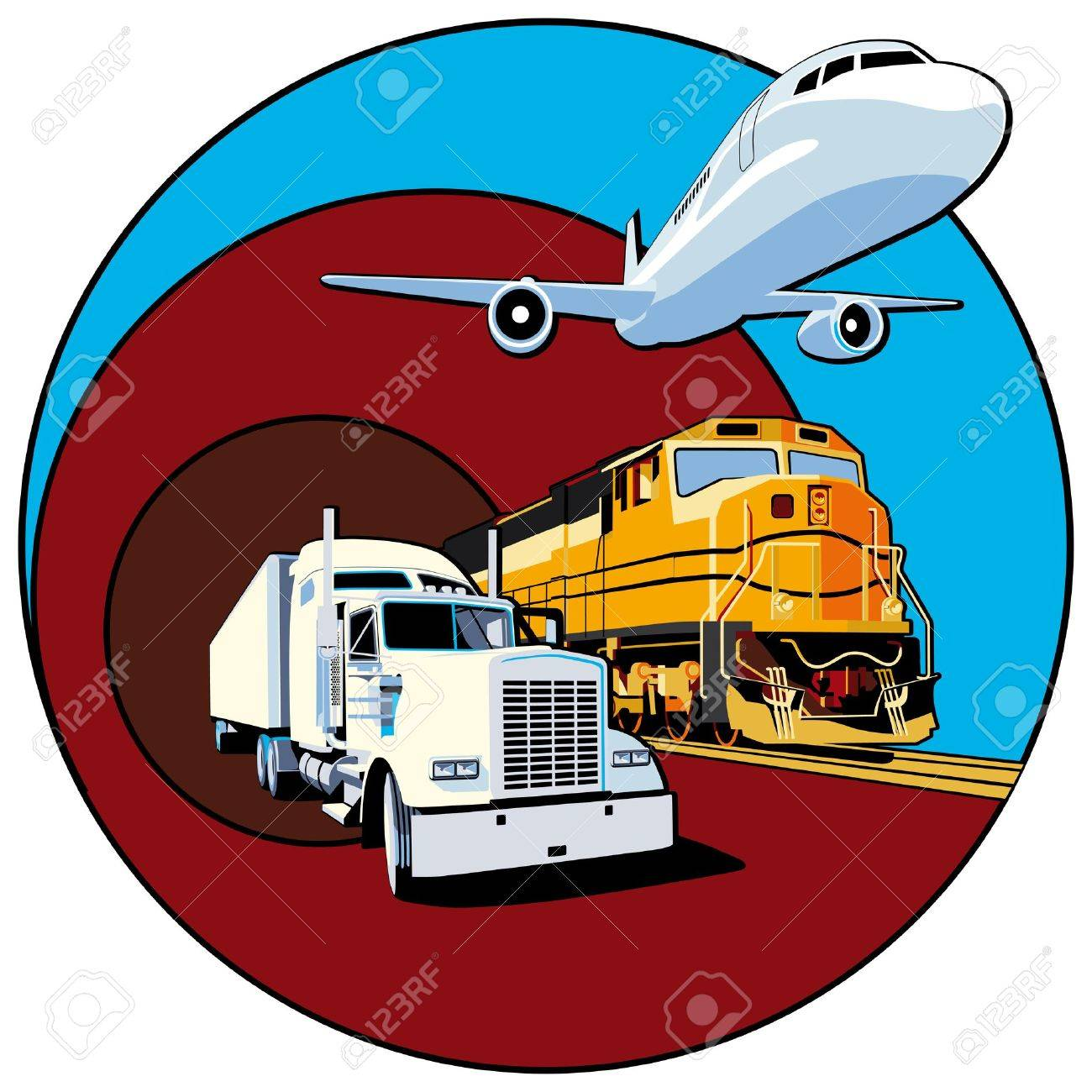 Vectorial round vignette on theme of cargo transportation with three basic types of transports, executed in the limited palette. No gradients and blends. Strokes are not expanded. Stock Vector - 6449108