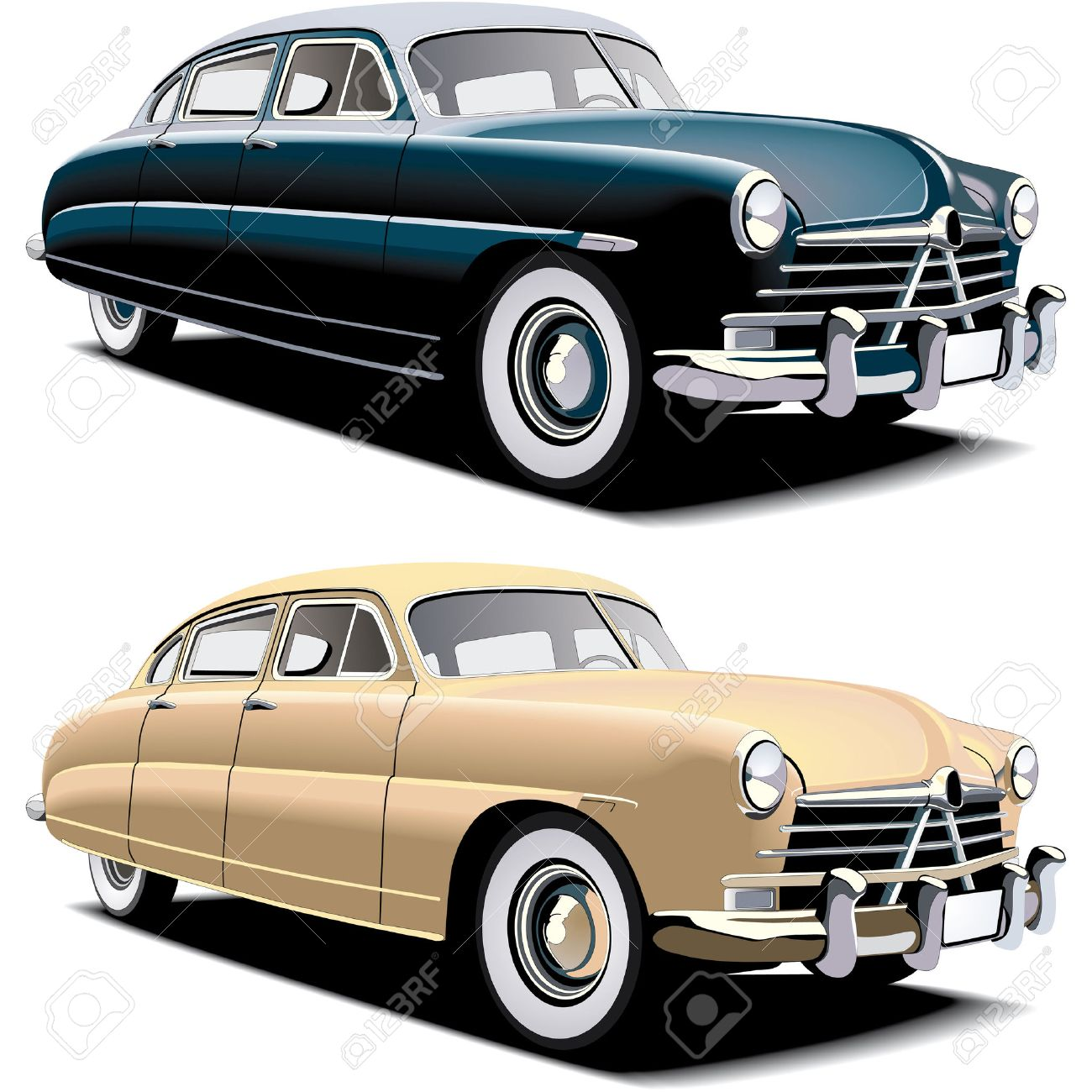 Vectorial image of old-fasioned big american car, executed in two colour versions. Contained gradients and blends Stock Vector - 6679199