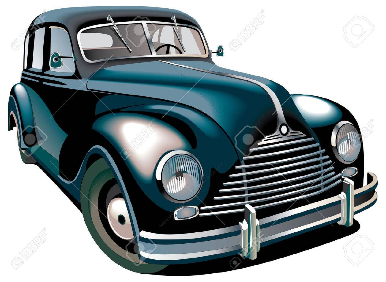Detailed Vectorial Image Of Black Old-fashioned Car Isolated ...