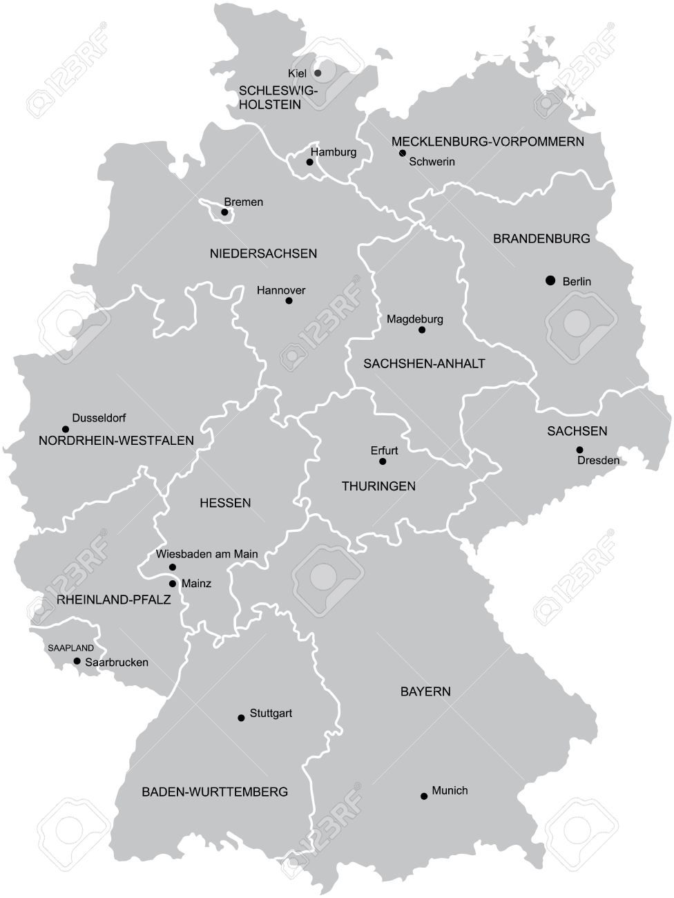 Vectorial Map Of Germany With Provinces No Gradients And Blends - Germany map provinces
