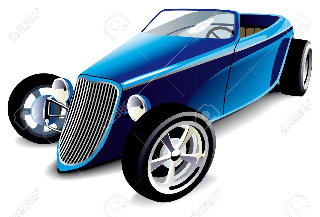 Vectorial Image Of Old-fashioned Blue Hot Rod, Isolated On White ...