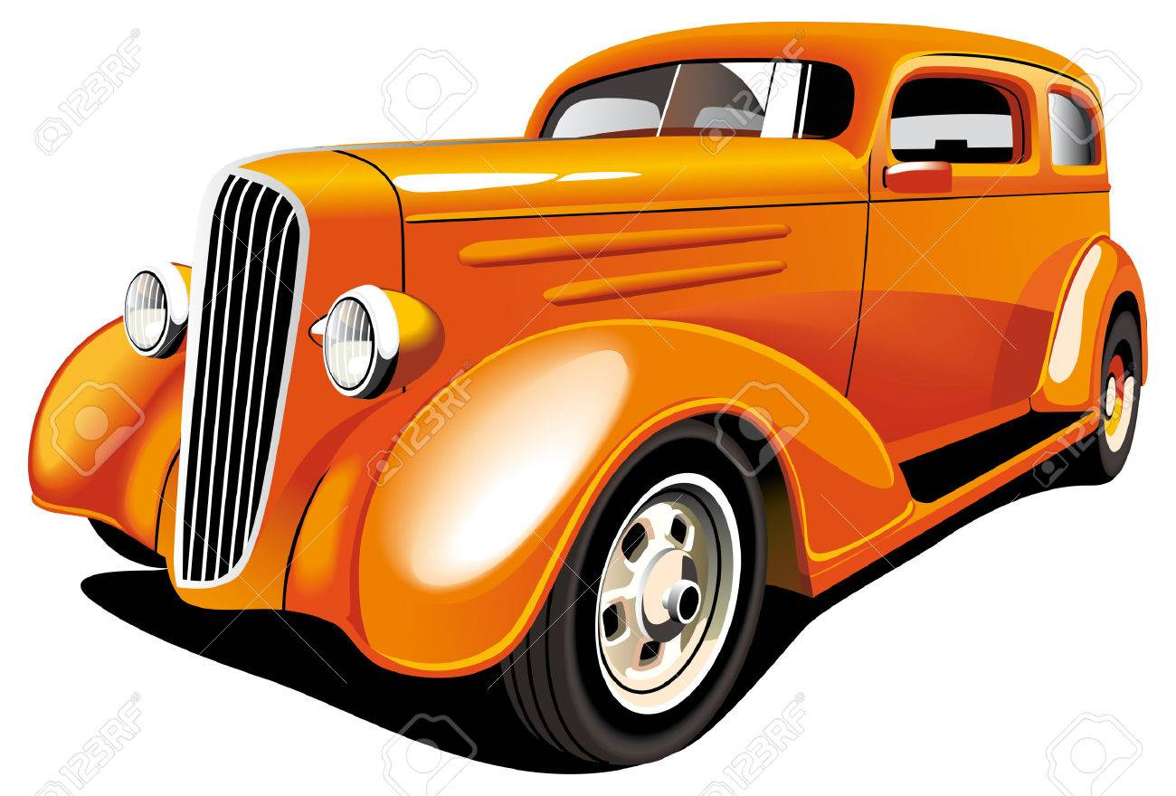 Vectorial image of old-fashioned orange hot rod, isolated on white background. Contains gradients and blends. Stock Vector - 7877234