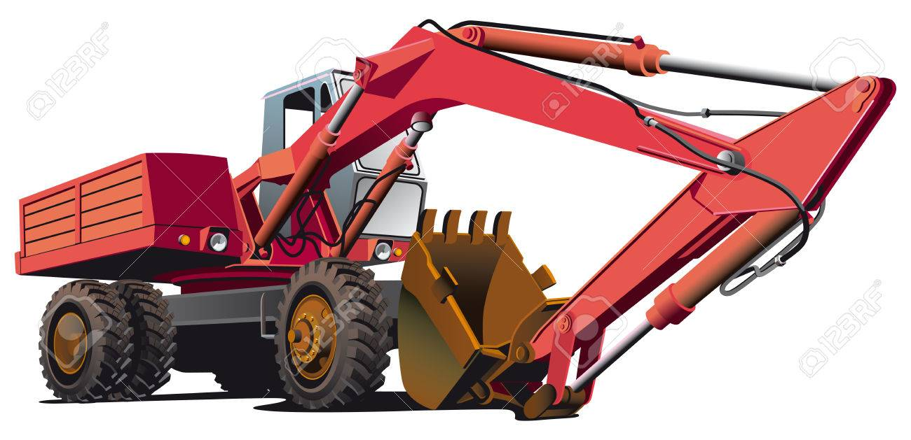detailed vectorial image of red old-fashioned wheel excavator, isolated on white background. File contains gradients, not blends and strokes. Stock Vector - 8107960