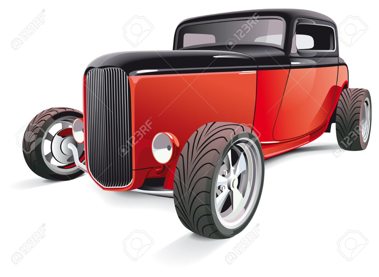 Vectorial image of red hot rod, isolated on white background. Contains gradients and blends. Stock Vector - 8643910