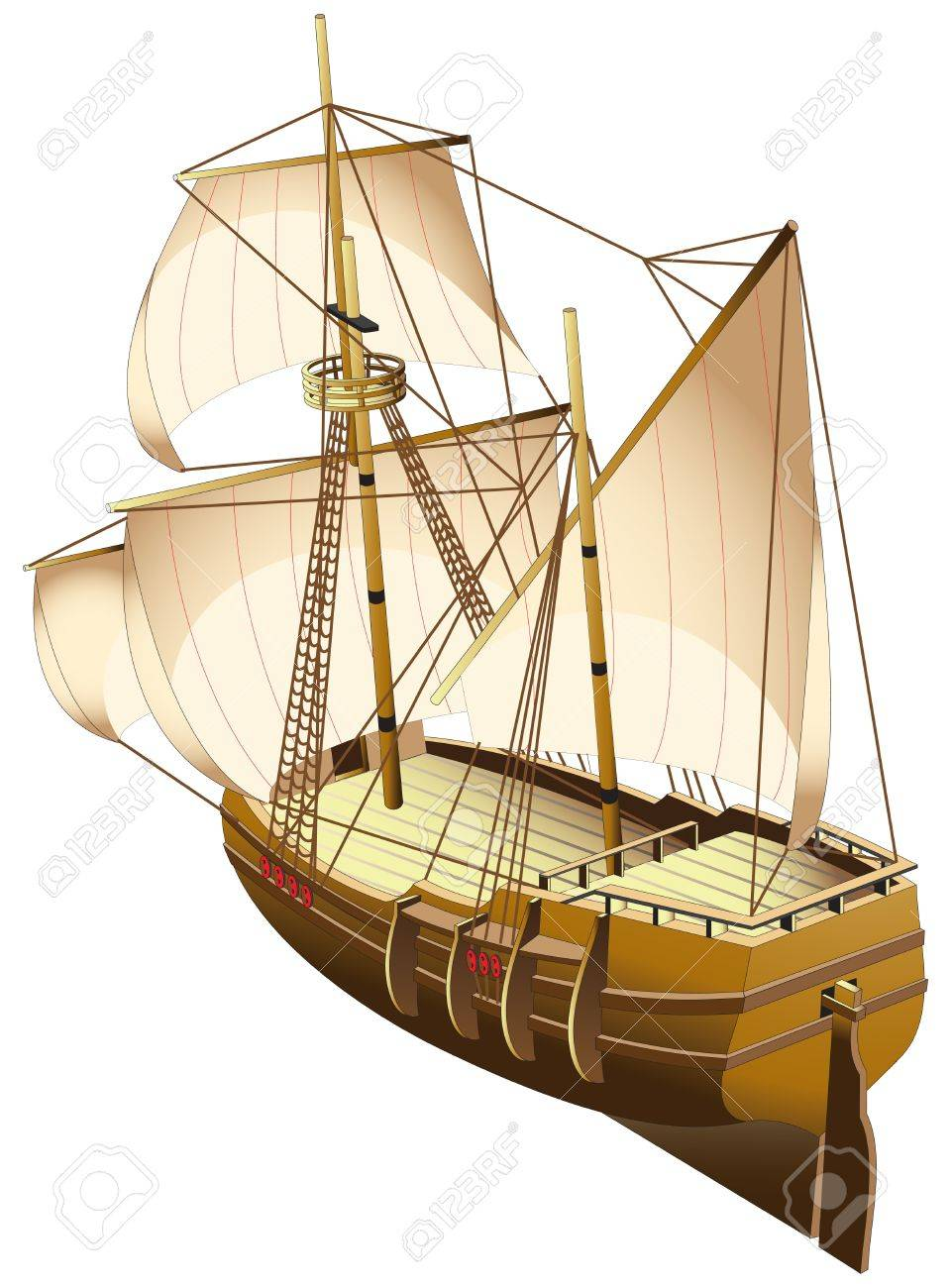 vectorial image of old tallship (carvel - fast Spanish or Portuguese ship of the 15th-17th centuries), isolated on white background. File contains gradients. Stock Vector - 11138972