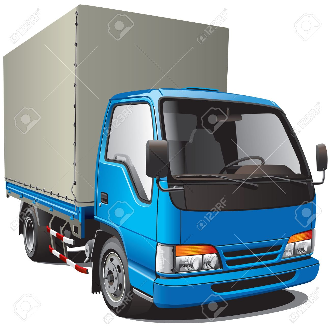 Detailed image of small blue truck, isolated on white background. File contains gradients. No blends and strokes. Stock Vector - 11663493