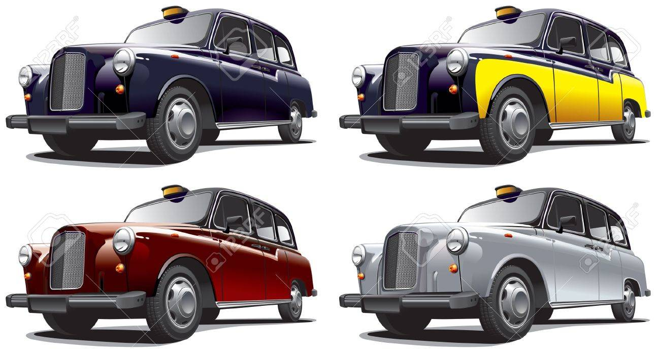 Detailed image of vintage taxi cab, isolated on white background, executed in four color variants. File contains gradients. No blends and strokes. Stock Vector - 14616369
