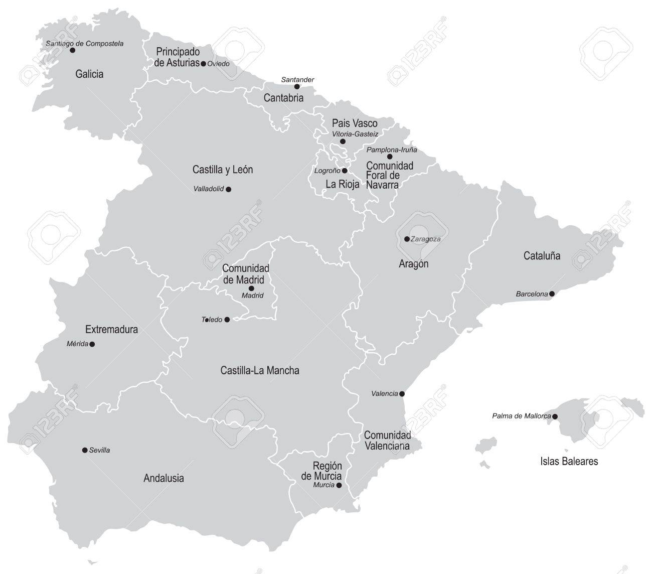 Vectorial Map Of Spain With All Provinces And Cities No Gradients
