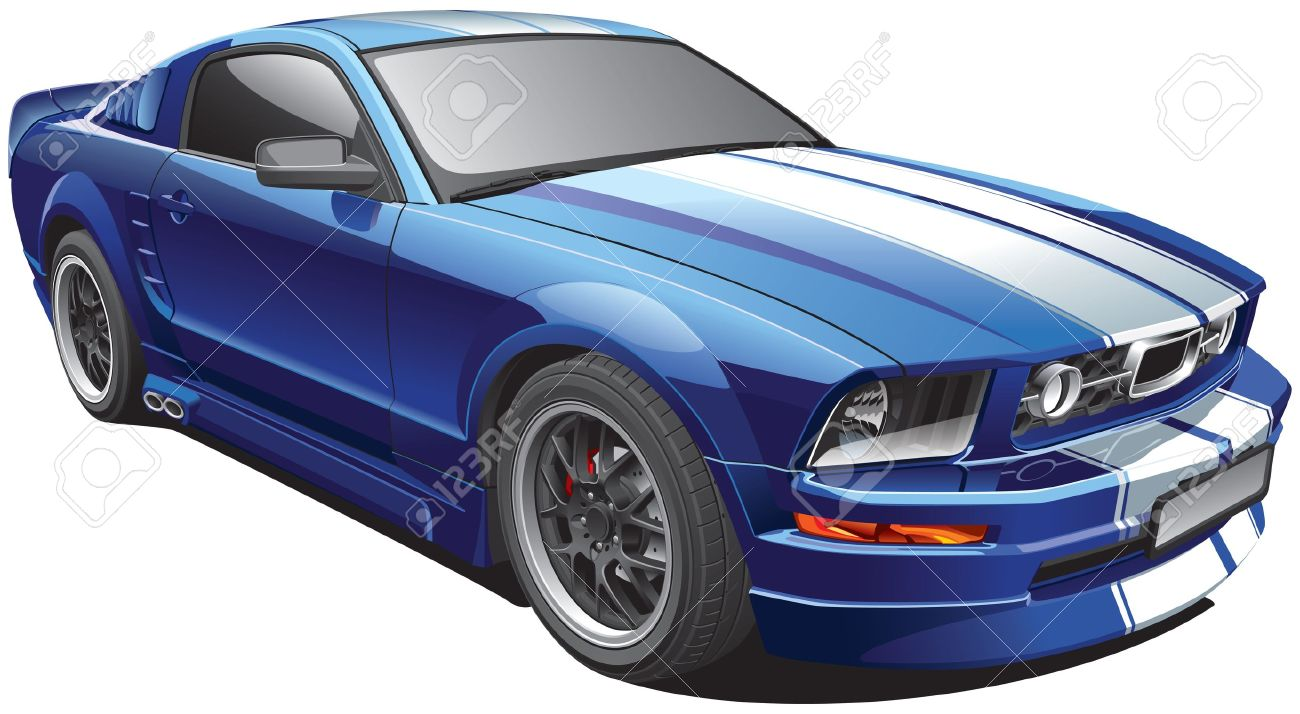 Charmant Detail Image Of Blue Modern Pony Car With White Racing Stripes, Isolated On White  Background