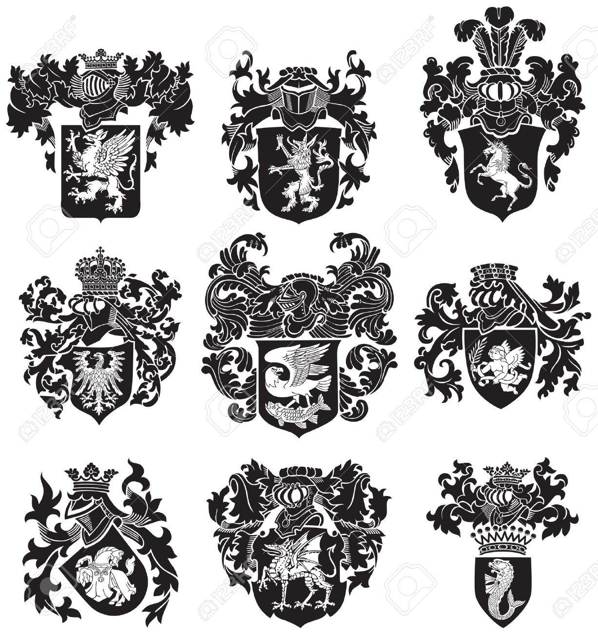 image of black medieval heraldic silhouettes, executed in woodcut style, isolated on white background Stock Vector - 21917780