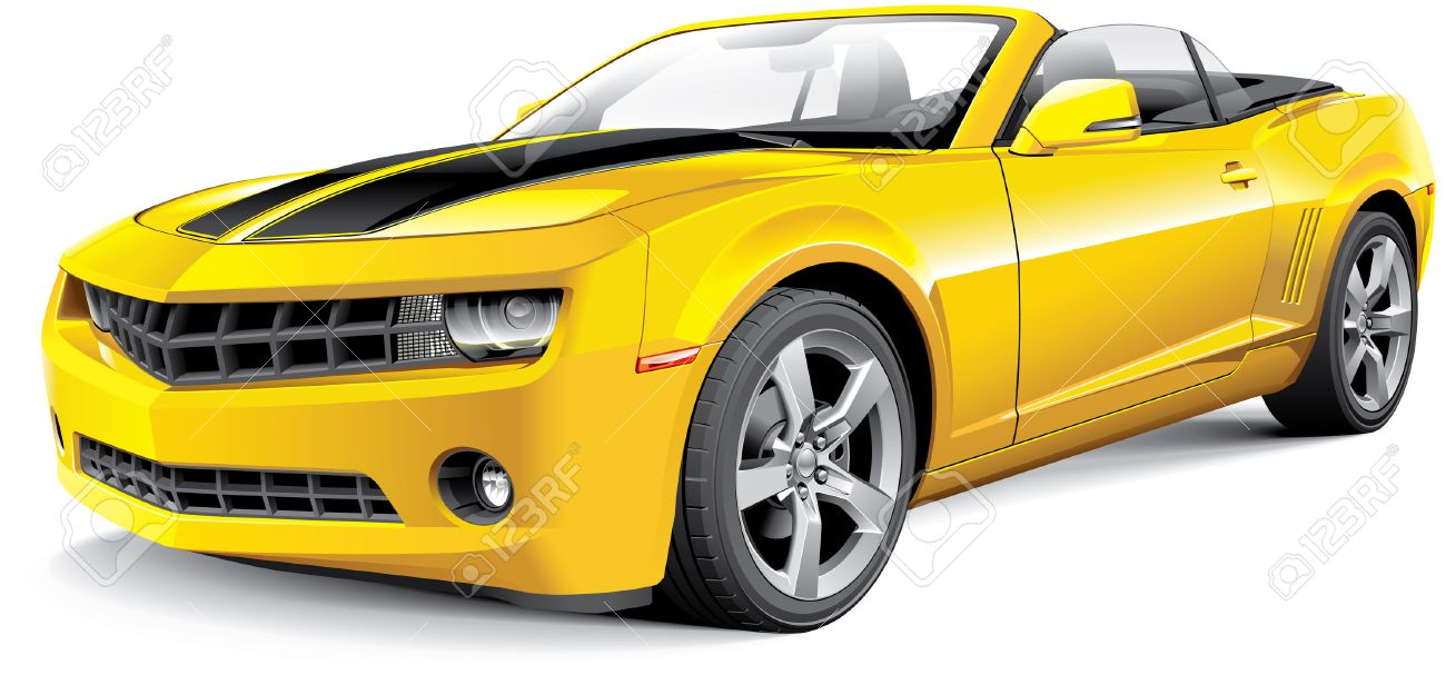 Detail Image Of American Muscle Car With Black Racing Stripes