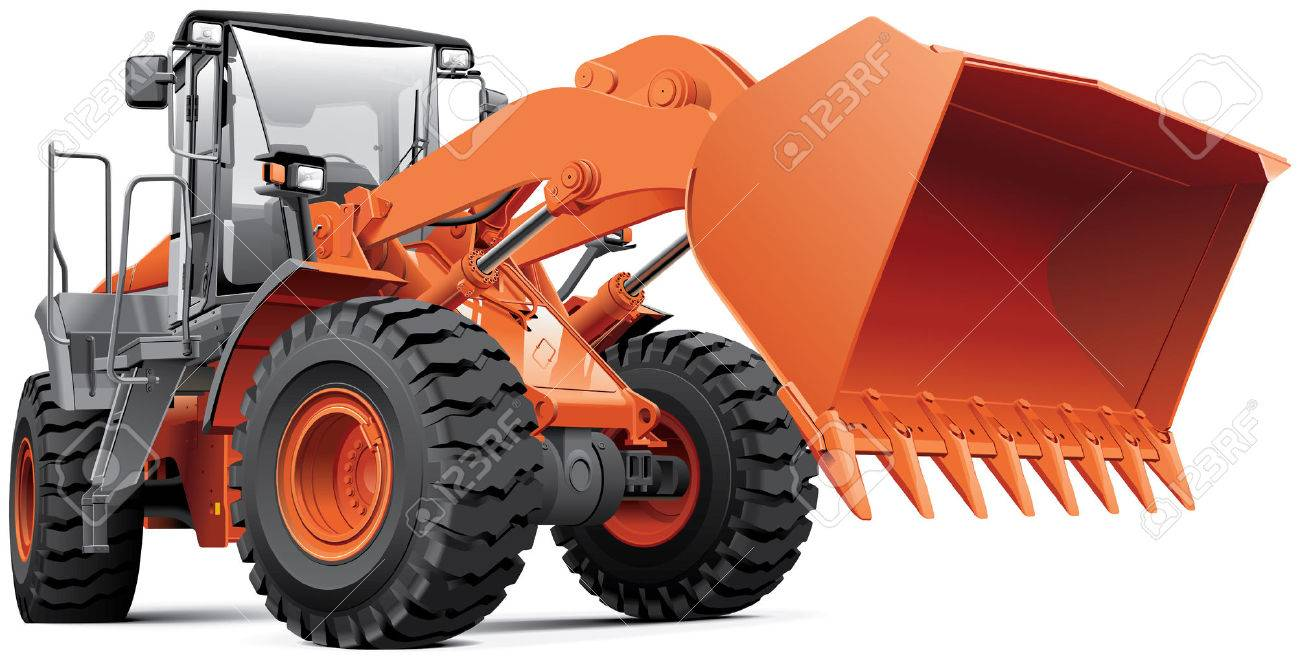 detailed image of orange large front end loader isolated on