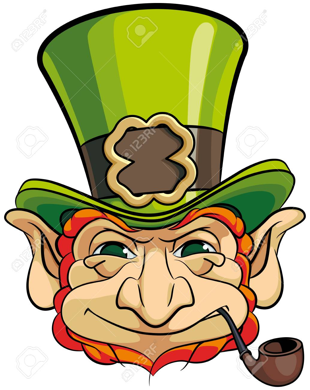 Vector Colourful Illustration Of Leprechauns Head In Top Hat