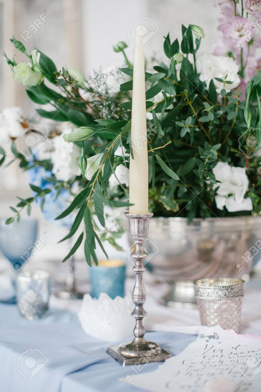 Silver Candlestick As Element Of Festive Table Wedding Centerpieces Stock Photo Picture And Royalty Free Image Image 92937802