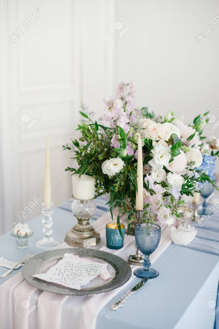 Silver Candlestick And Other Elements Of Festive Table Wedding ...