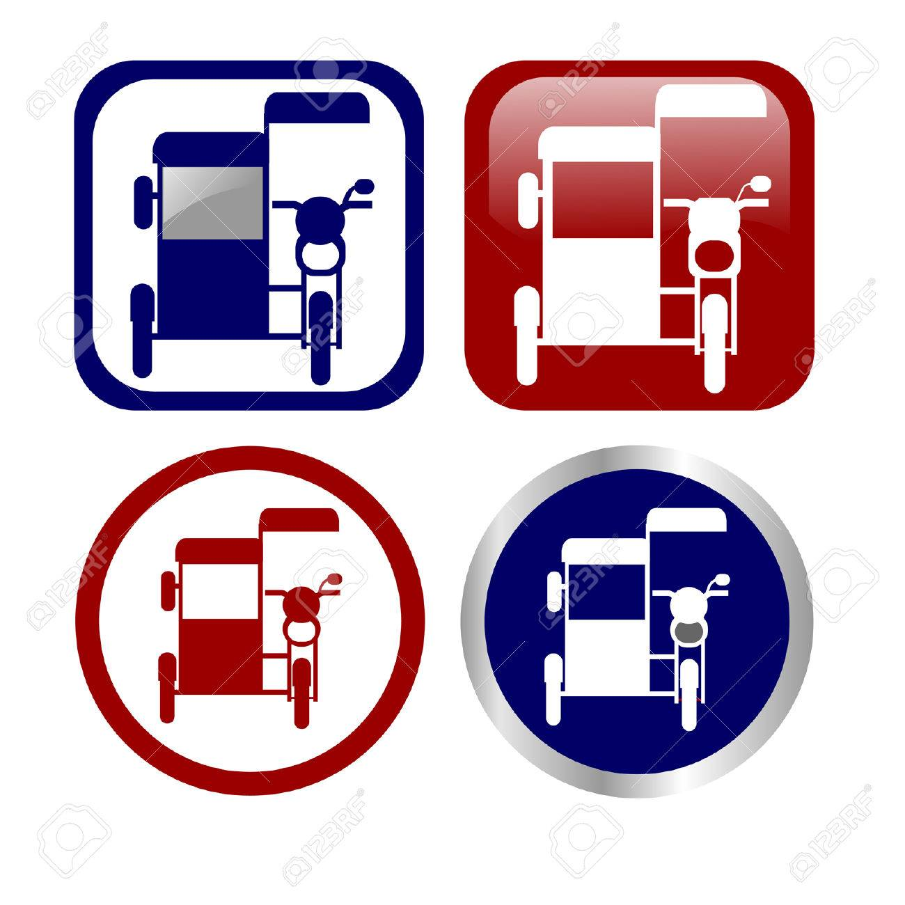 Philippine tricycle icon set - 24188808