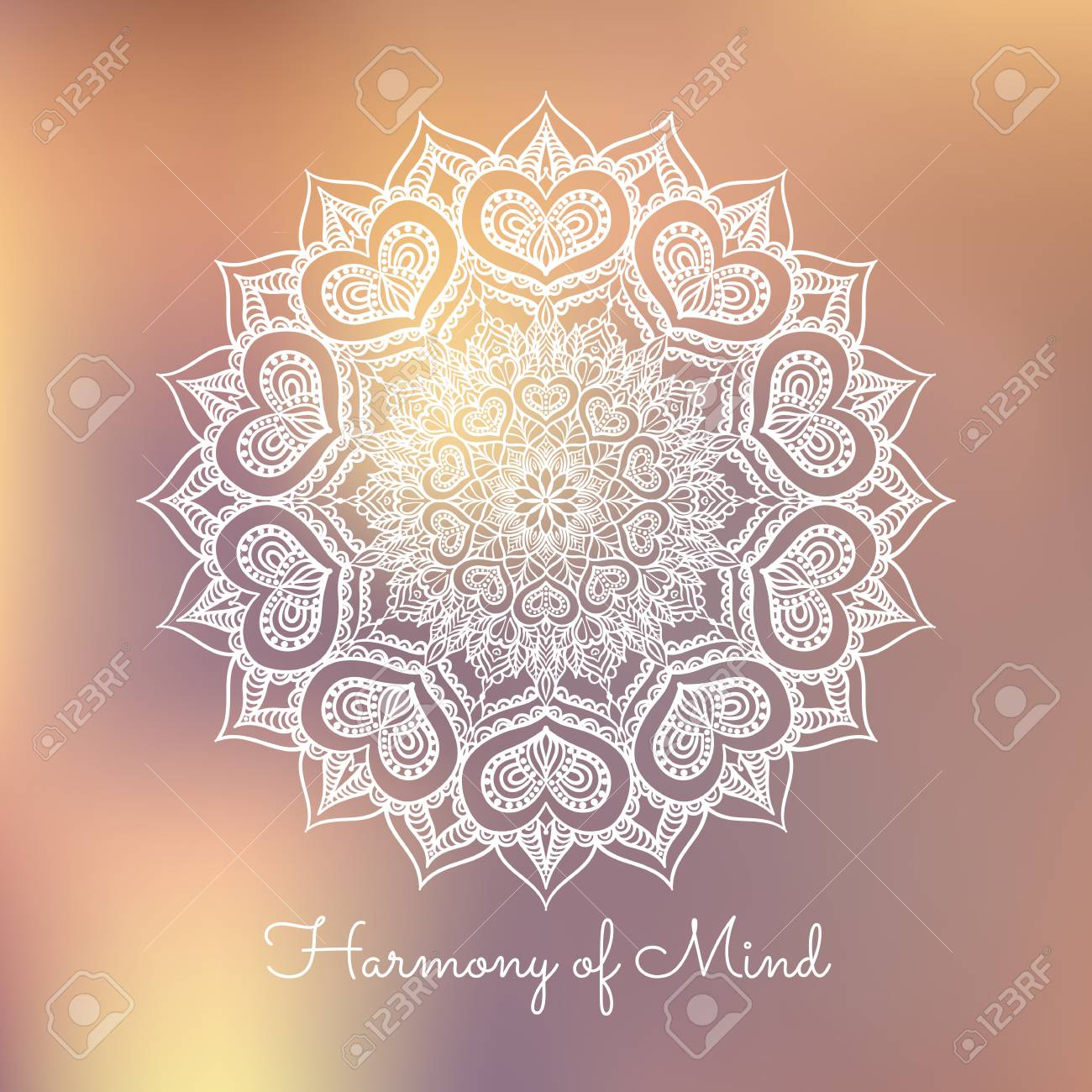 Hand Drawn Mandala Design Element On Blurred Background Yoga Motivational Poster Beautiful Floral