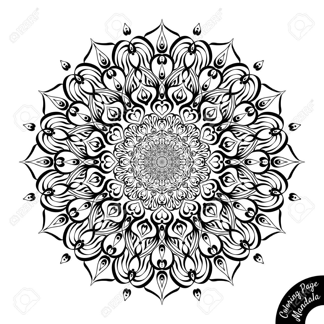 Mandala Blanco Y Negro Aislada En El Fondo Blanco Página De Libro Para Colorear Para Niños Mayores Y Coloristas Adultos Patrón De Terapia