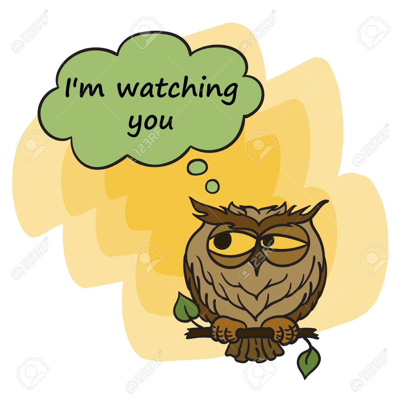 Cute Angry Owl Sitting On Branch. I m Watching You Poster. Cartoon ... 1aa828174ef3