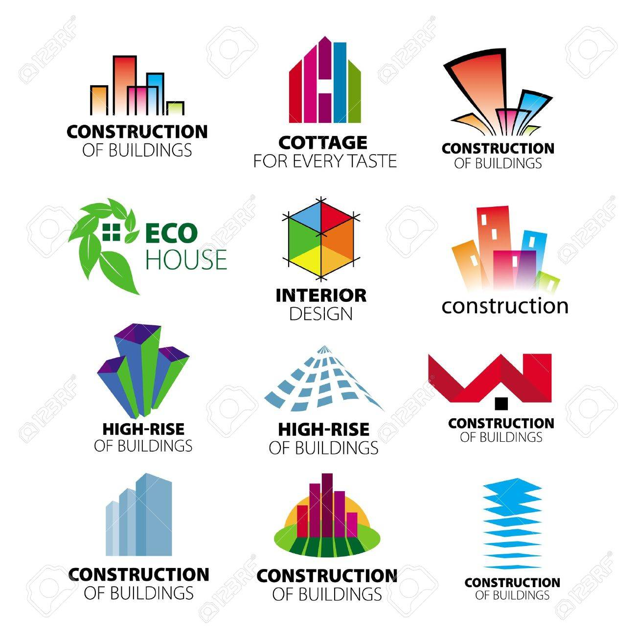 Collection Of Vector Logos Construction And Home Improvement Royalty ...