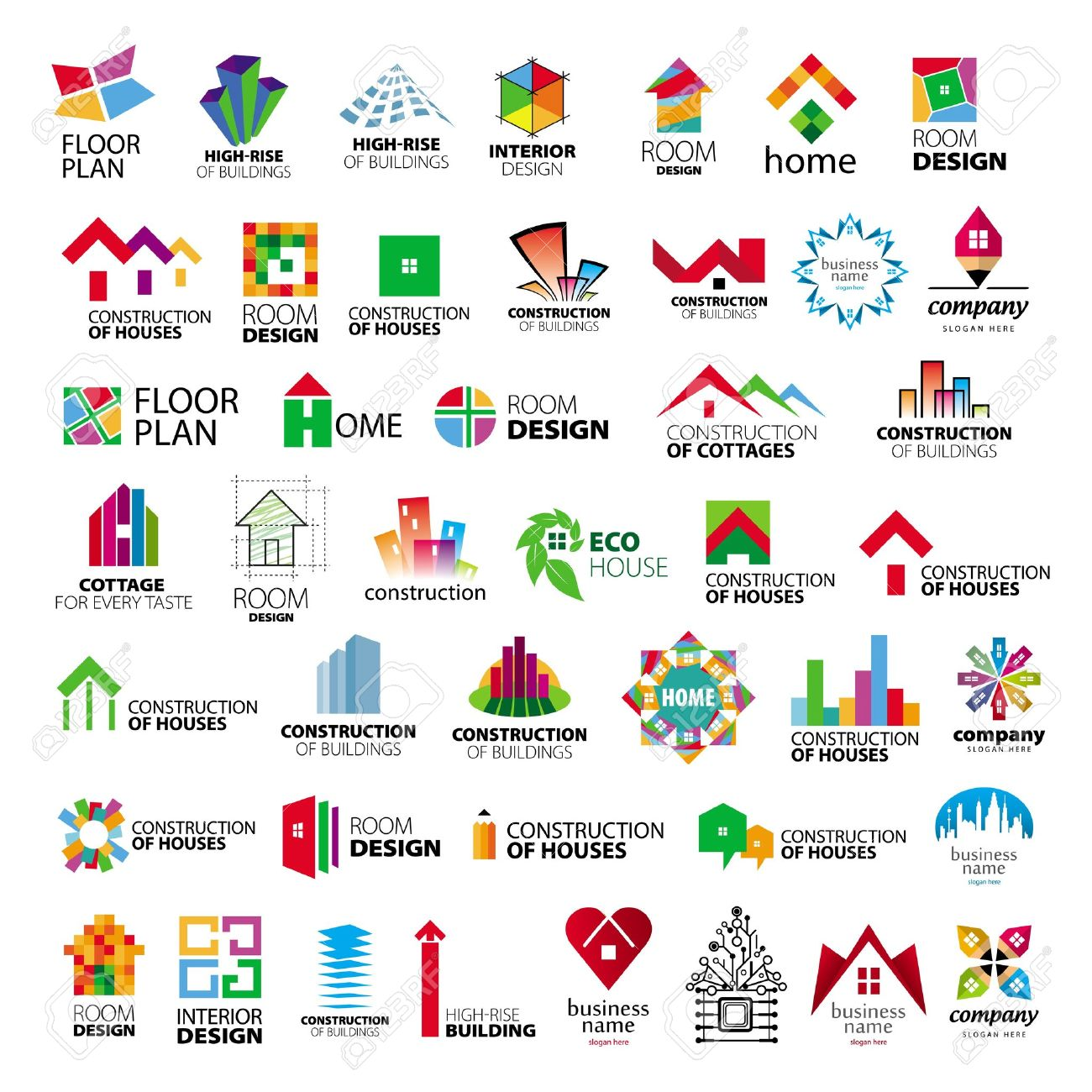 Collection Of Logos Construction And Home Improvement Royalty Free ...