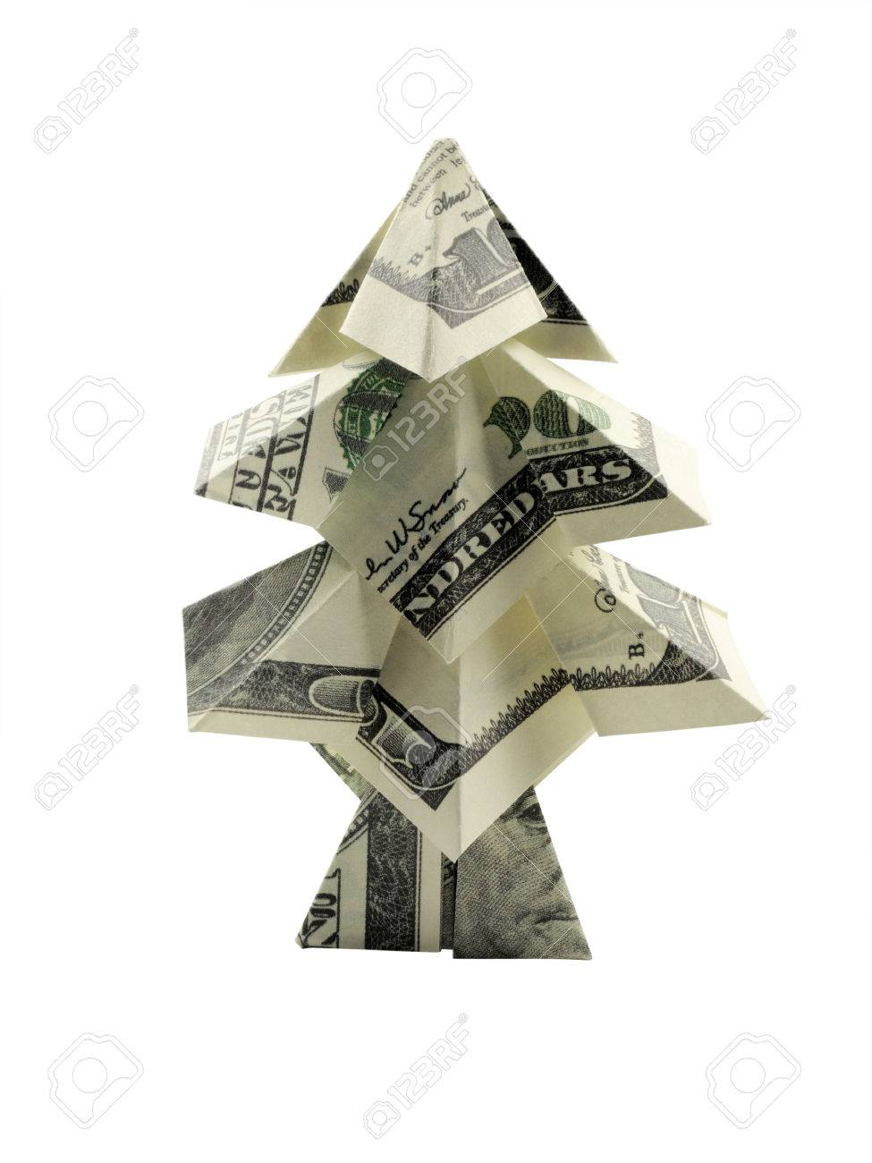 Christmas Tree Made Of Hundred Dollar Bills Stock P O 32859882
