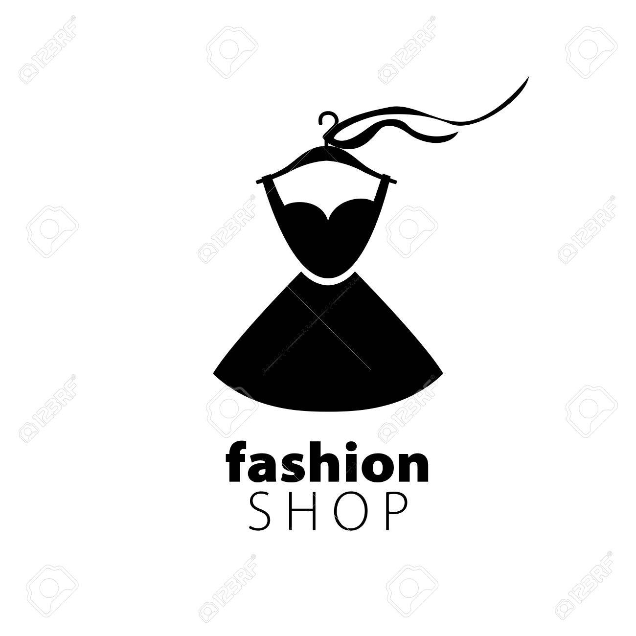 vector logo clothing illustration dress on a hanger royalty free