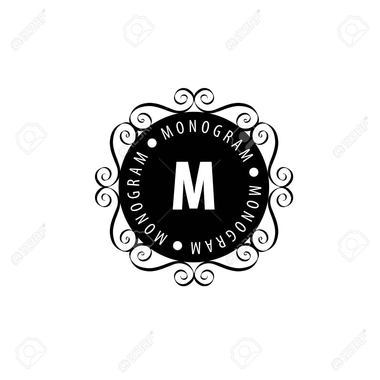 Vector Logo Plantilla Monograma. El Patrón De Marco. Ilustraciones ...
