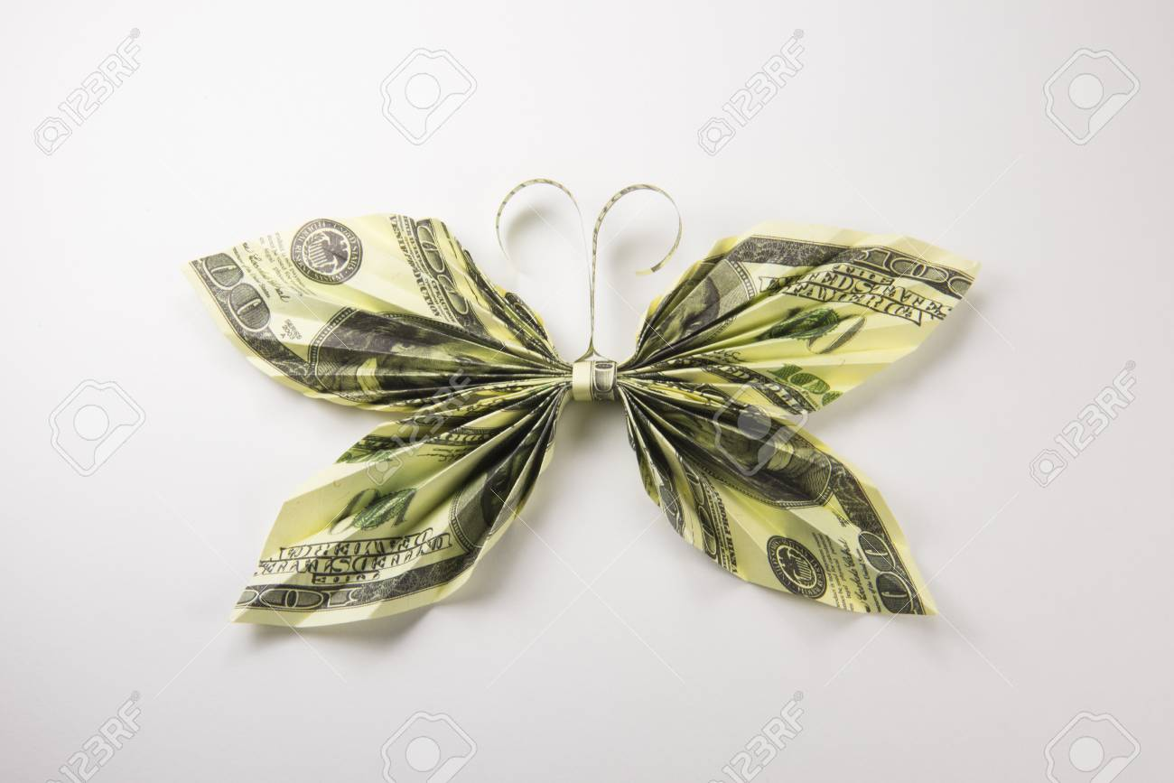 Money Origami Butterfly - Dollar Bill Art Stock Photo - Image of ... | 867x1300