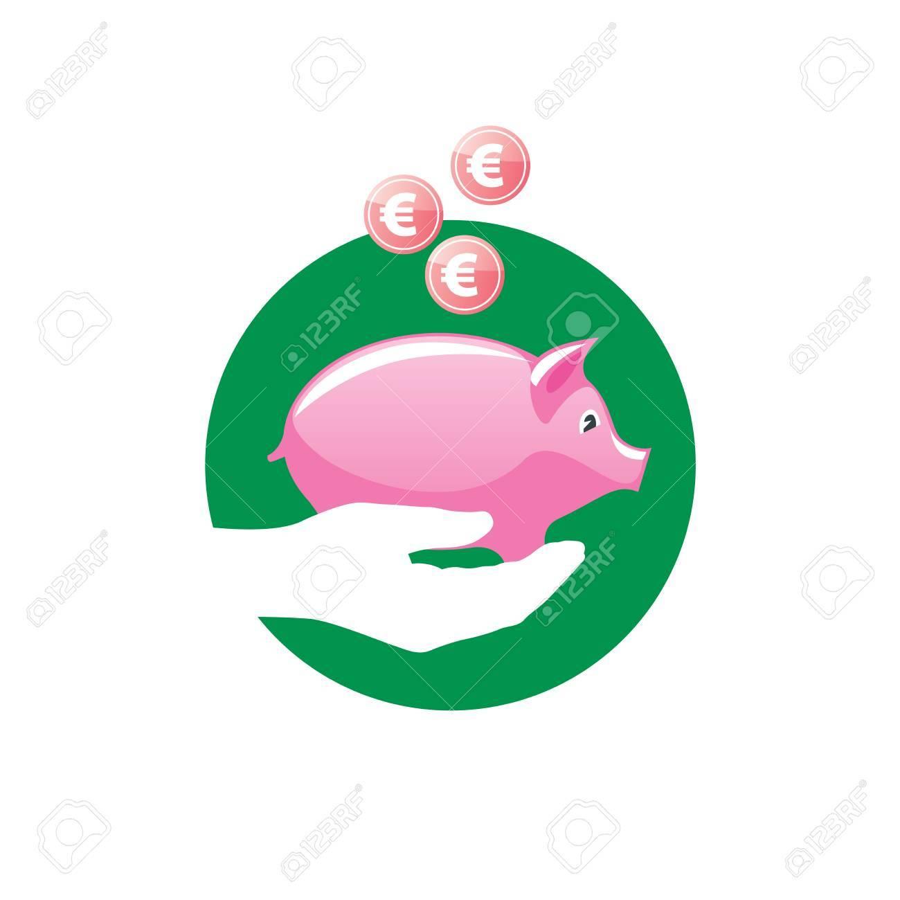 logo design template piggy bank vector illustration stock photo
