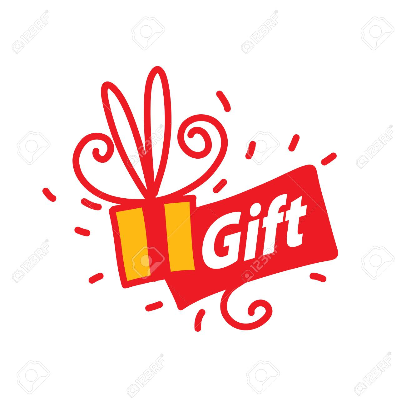 Vector Logo Gift Box Tied With Ribbon Design Element Royalty Free Cliparts Vectors And Stock Illustration Image 92253571