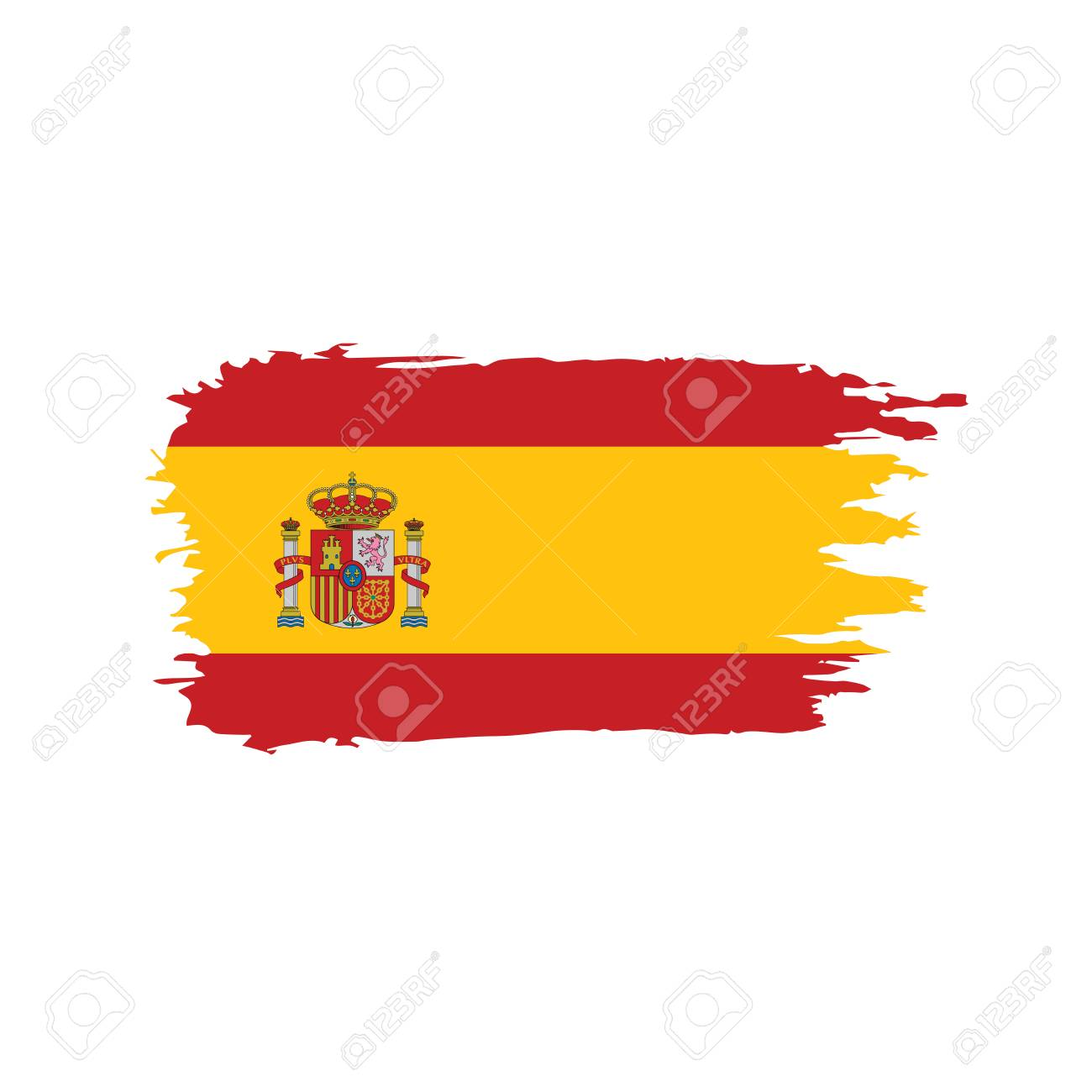 Spain flag on white background, vector illustration. - 96645207