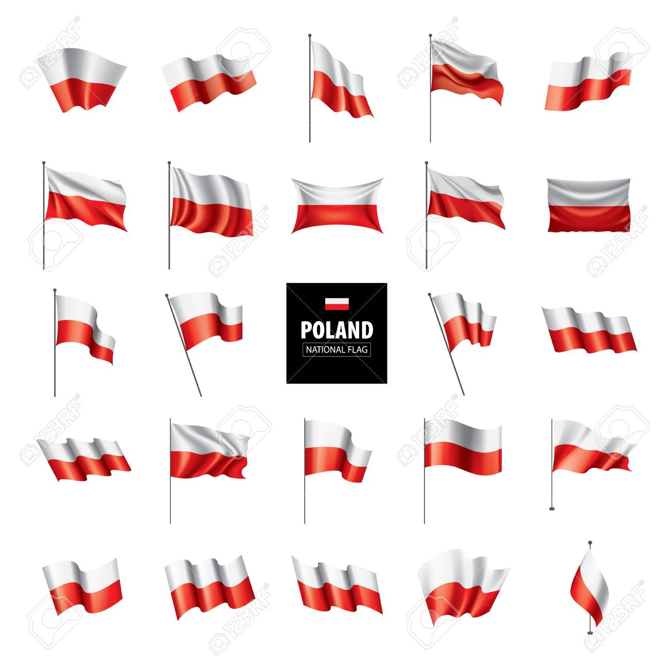 Poland flag, vector illustration on a white background - 112236553