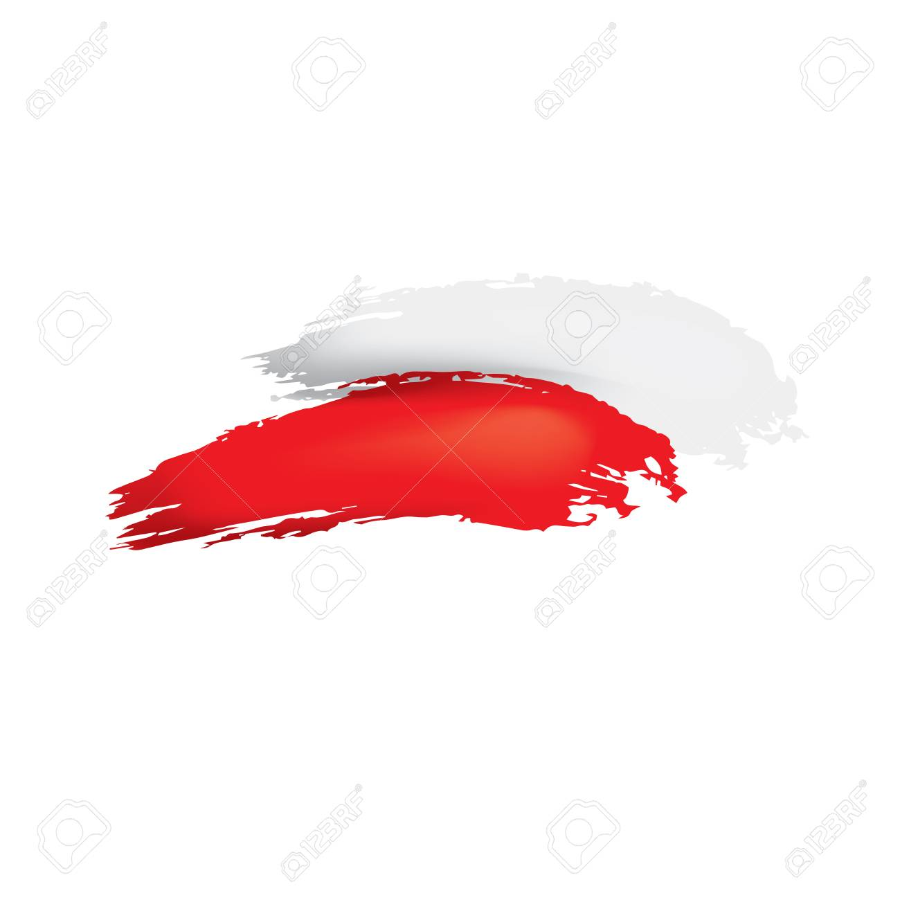 Poland flag, vector illustration on a white background. - 107842303