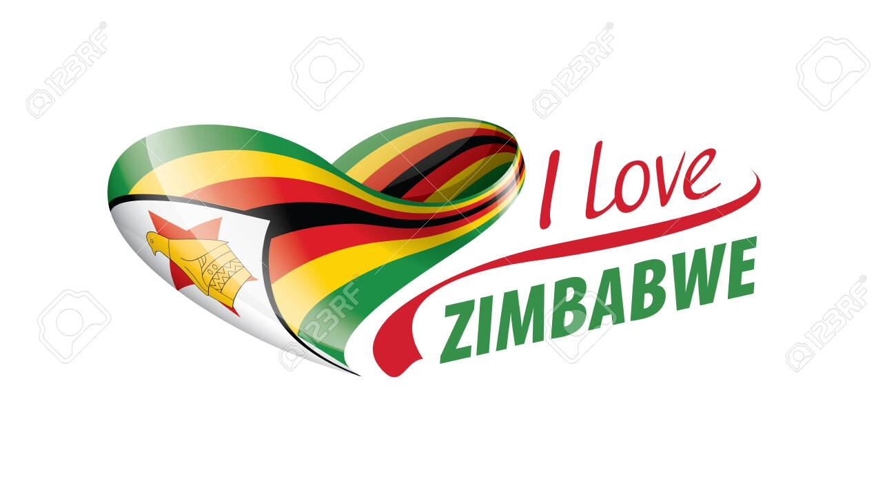 National flag of the Zimbabwe in the shape of a heart and the inscription I love Zimbabwe. Vector illustration - 139834973