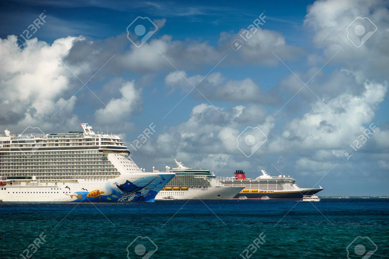 Three Cruises ship in crystal blue water with beautiful sky. - 141558965