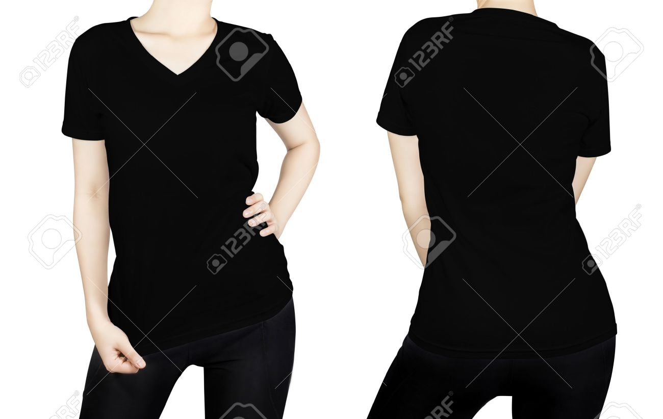 Black t shirt front - Black T Shirt On Woman Body With Front And Back Side Isolated On White Background