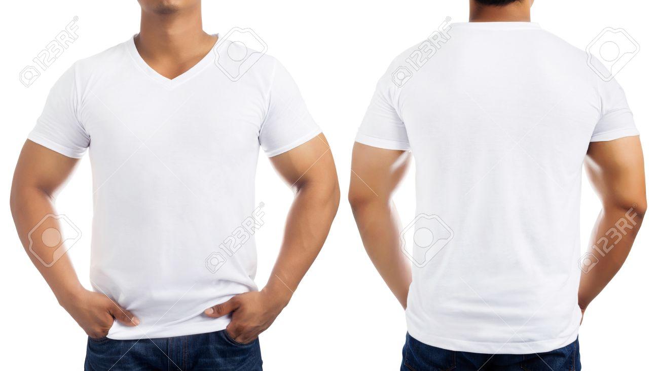 a juego en color clientes primero bebé Blanco ocasional de la camiseta en el cuerpo de los hombres aislados en  fondo blanco, delante y detrás.