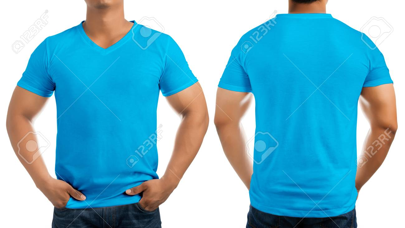 Blue Casual T Shirt On Men S Body Isolated On White Background