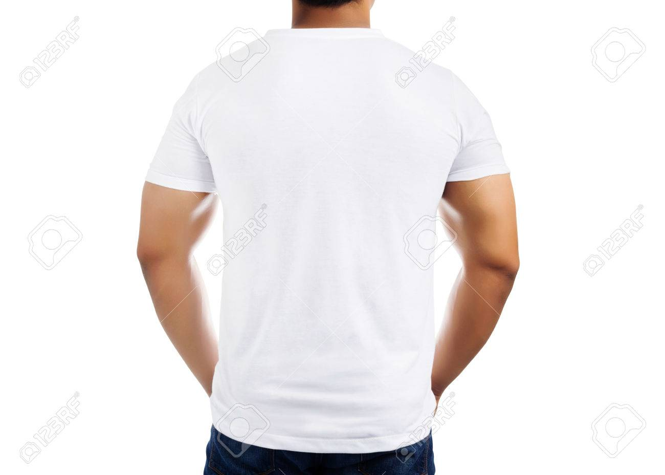 White Casual T Shirt Pattern On Mens Body Isolated On White Stock