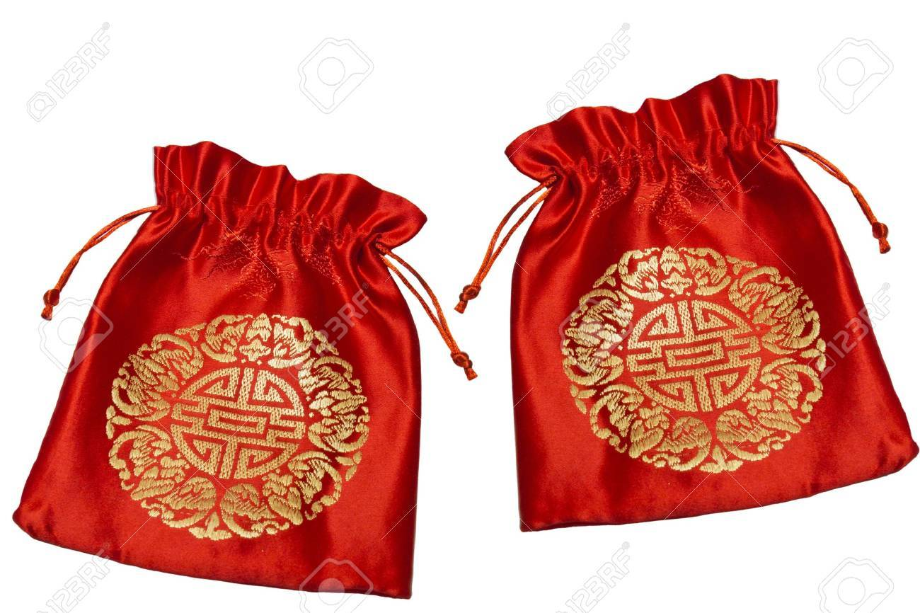 Red bag for Chinese New Year on white background Stock Photo - 13046016