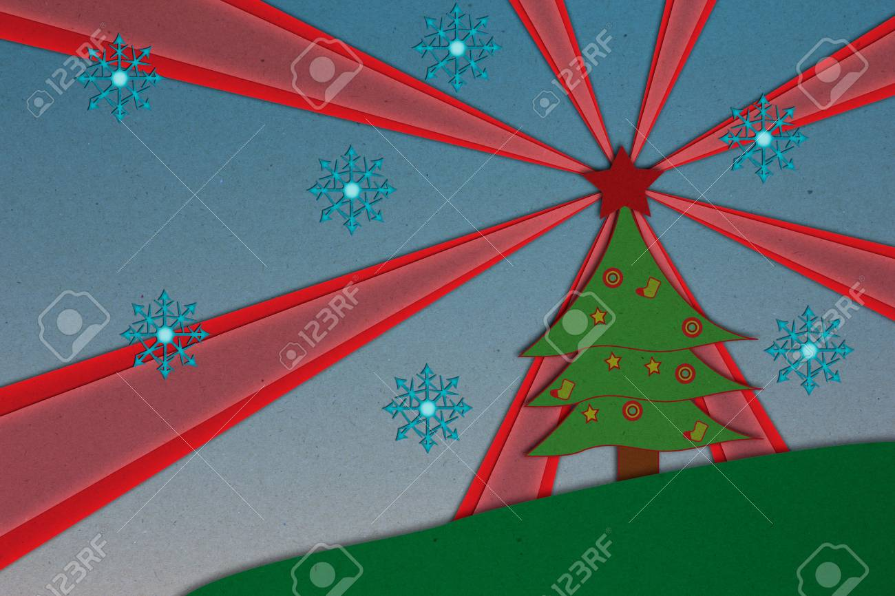 Christmas background,Santa Claus On Sledge With Reindeer on pines forest, paper craft. Stock Photo - 17969600