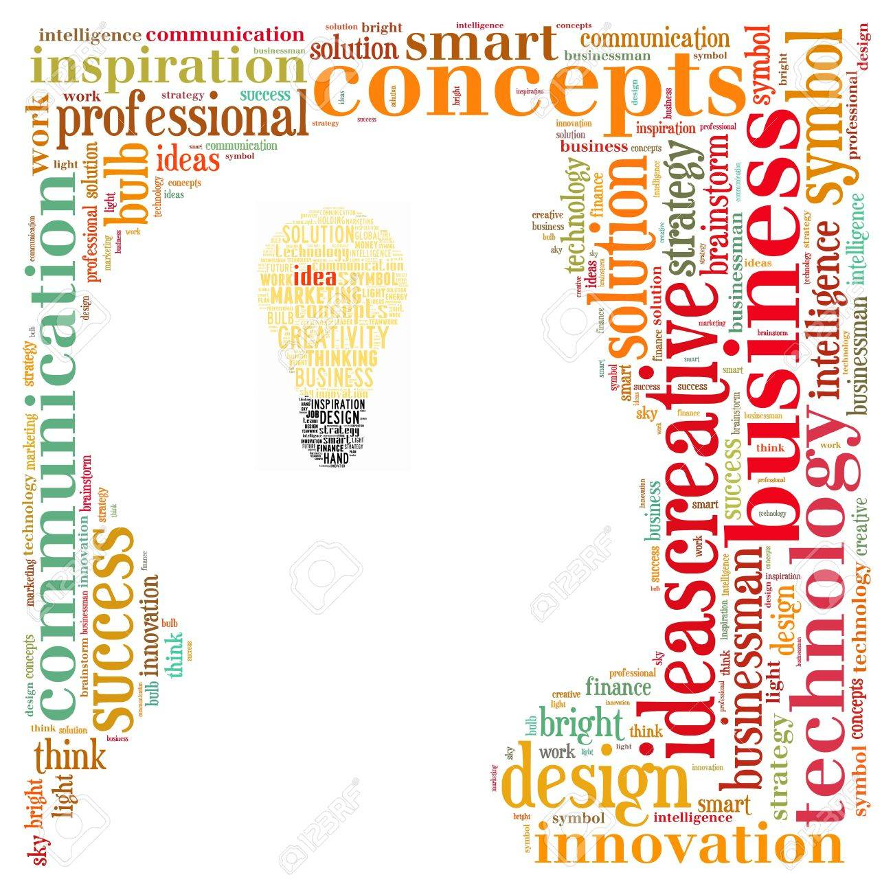 Idea info-text graphics composed in head and bulb shape concept (word clouds) Stock Photo - 14691308