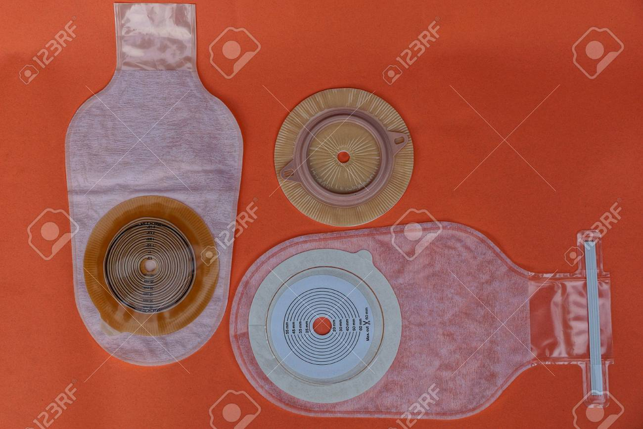 colostomy bag on a red table