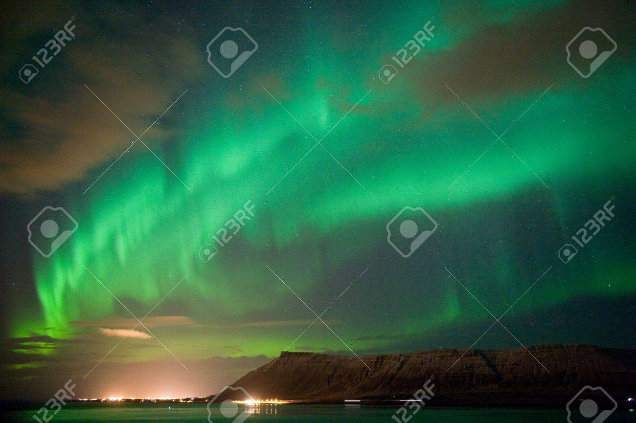 Stock Photo   The Aurora Borealis Or The Northern Lights North Of Reykjavik  In Iceland