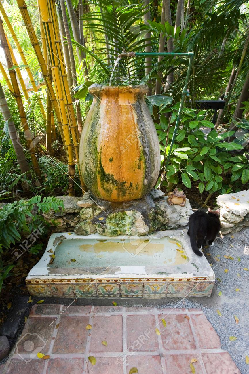 Key West Florida Usa May 03 2016 Former Urinal In The Garden
