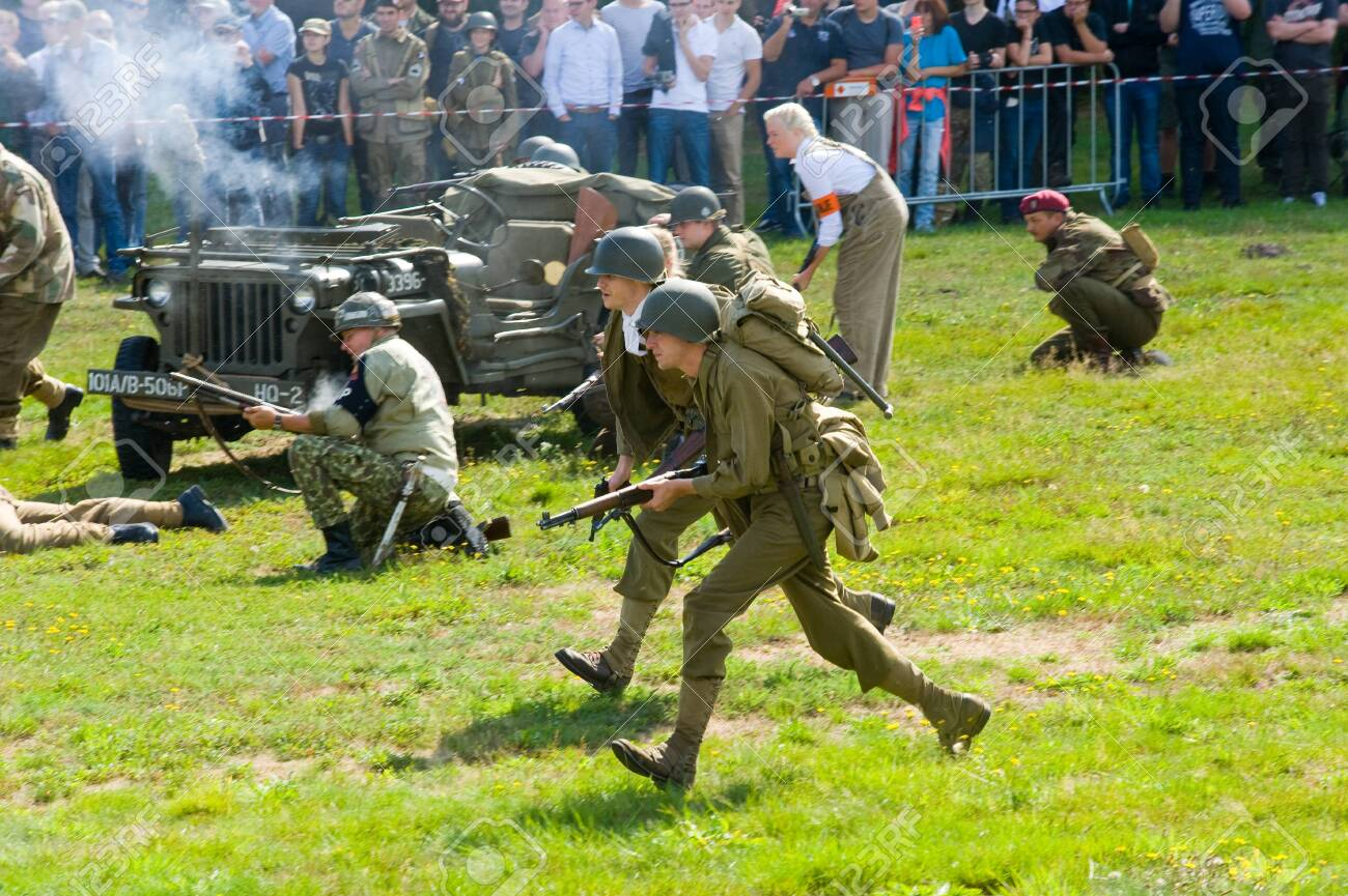 ENSCHEDE, THE NETHERLANDS - 01 SEPT, 2018: Soldiers fighting