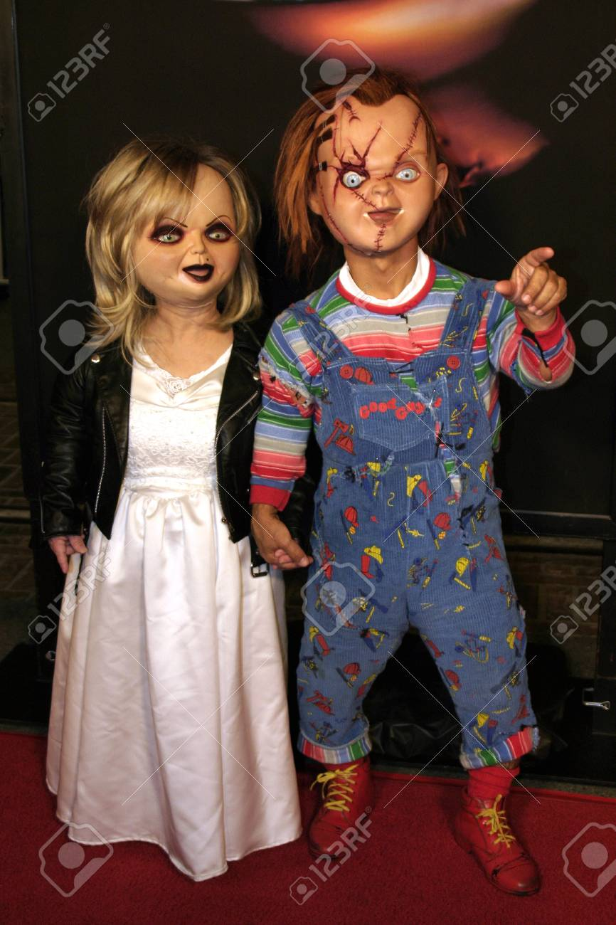 chucky and tiffany at the los angeles screening of seed of chucky