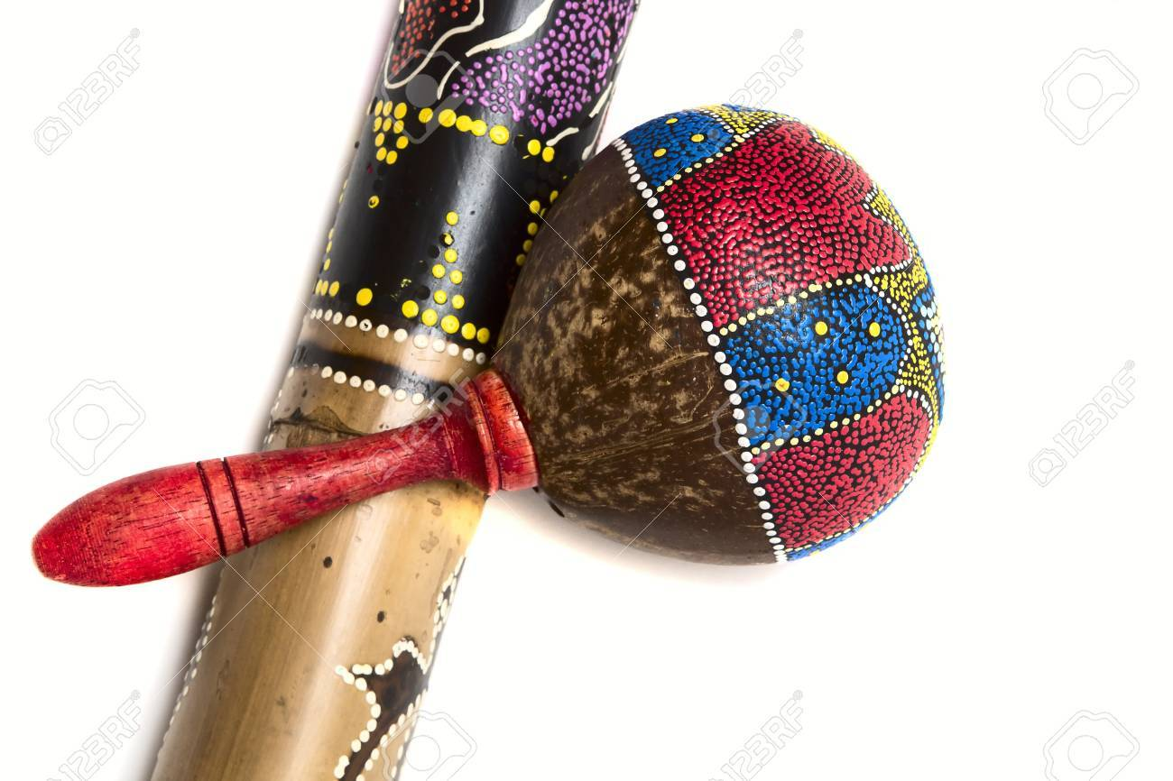 the picture of rainstick plus a colorful maracas musical