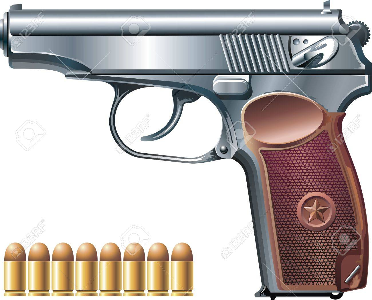 Background with machine pistol and ammunition Stock Vector - 7877485
